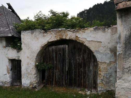 Brama i dom zarośnięty krzakami